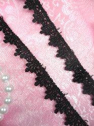 "C24C Black Petite Venice Lace Sewing Trim .5"""