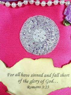 "C292 Light Purple Round Circle Beaded Applique Iron On 1 7/8"""