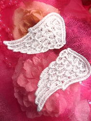 "C509616  White Venice Lace Wing Mirror Pair Appliques 5"""