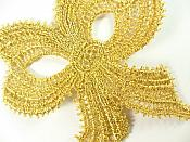 "Gold Metallic Bow Victorian Venice Lace 3"" C615896"