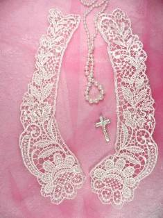 C63 Ivory Venice Victorian Lace Mirror Pair Collar Appliques 10.5""