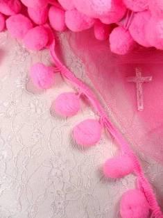 """C850470 Hot Pink Pom Pom Sewing Fringe Trim 1.5"""""""