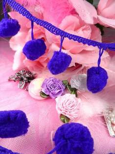 "C850470  Purple Pom Pom Sewing Fringe Trim 1.5"""