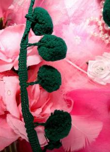 "C850470  Emerald Green Pom Pom Sewing Fringe Trim 1.5"""
