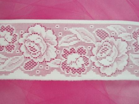 """C96  Two Yards White Lace Rose Sewing Trim 27.5"""""""