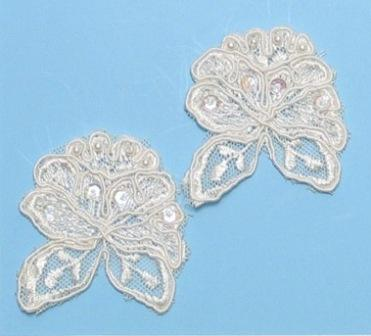 E3214  Ivory Mirror Pair Corded Lace Appliques 2""