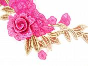 """3D Applique Embroidered Hot Pink Floral Craft Patch Clothing Motif 13.5""""  CQ2"""