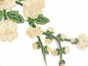 """3D Applique Embroidered Champagne Rose Floral Craft Patch Clothing Motif 12""""  CQ3"""