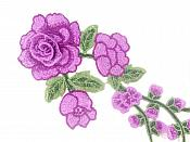 """3D Applique Embroidered Purple Rose Floral Craft Patch Clothing Motif 12""""  CQ3"""