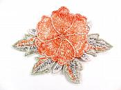 3D Embroidered Applique Orange Single Floral Sewing Supply Clothing Patch  CQ4