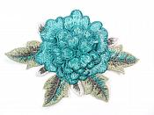 3D Embroidered Applique Teal Single Floral Sewing Supply Clothing Patch  CQ4