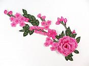"""3D Embroidered Applique Fuchsia Pink Rose Floral Vine Sewing Supply Clothing Patch 12"""" CQ7"""