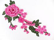 "3D Embroidered Applique Fuchsia Pink Rose Floral Vine Sewing Supply Clothing Patch 12"" CQ7"