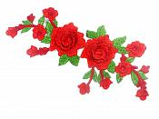 "Red Rose 3D Embroidered Applique Floral Cluster Vine Sewing Supply Clothing Patch 11"" CQ8"