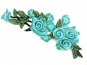 "Teal Rose 3D Embroidered Applique Floral Cluster Vine Sewing Supply Clothing Patch 12"" CQ9"