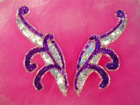 "0097  Purple & Silver Mirror Pair Sequin Beaded Appliques 5.5"""
