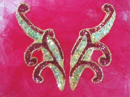 """0097x  Red & Gold Holographic Appliques 5.5"""" Mirror Pair Sequin Beaded"""