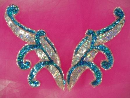 """0097  Turquoise & Silver Mirror Pair Sequin Beaded Appliques 5.5"""""""