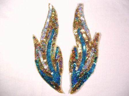 """0173 Turquoise Flames of Fire Mirror Pair Sequin Beaded Appliques 9.5"""""""