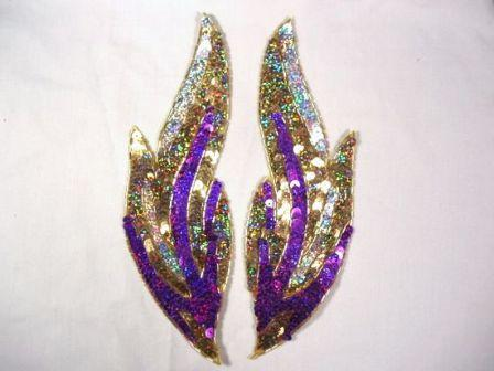 """0173 Purple Flames of Fire Mirror Pair  Sequin Beaded Appliques 9.5"""""""