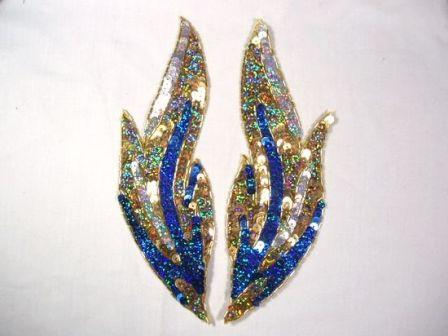 """0173 Royal Blue Flames of Fire Mirror Pair  Sequin Beaded Appliques 9.5"""""""