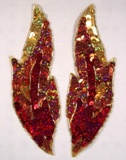 "0174 Flame 7"" Mirror Pair Sequin Beaded Appliques"