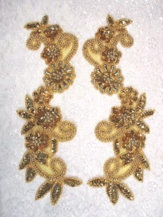 "ONE SIDED Sequin Appliques Gold Mirror Pair Beaded Dance Motifs 10"" (0183X)"