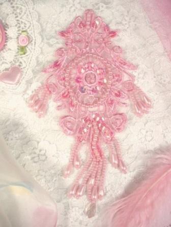 """0204 Pink AB Venise Lace Sequin Beaded Applique 7.5"""""""