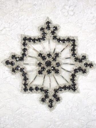 "0260  Black Jewel Silver Beaded Rhinestone Applique 4"""