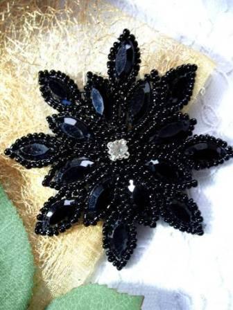 "XR32 Applique Black Beaded Snowflake Rhinestone Center 3"""