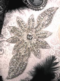 "JB33A High Quality Silver Beaded Floral Crystal Rhinestone Applique 6.5"""
