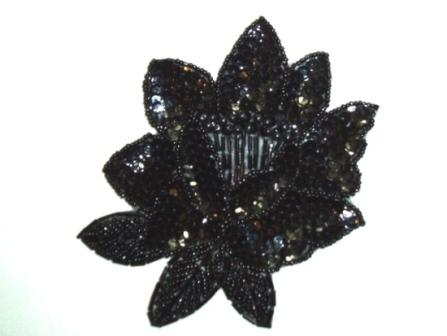 "K8108 Black Rose Sequin Beaded Applique 5.25"""