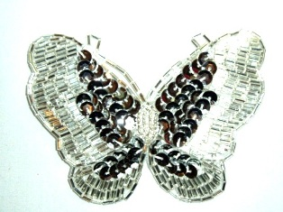 """K8110  Silver Butterfly Sequin Beaded Hair Bow / Brooch / Applique 4"""""""