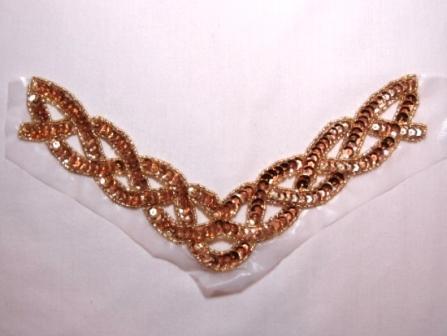 "K8248  Gold Rope Collar Sequin Beaded Applique  8.75"""