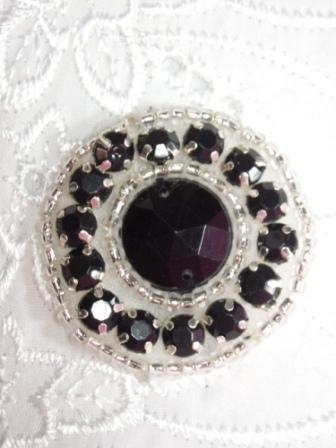 ACT/0379  Black Silver  Round Beaded Applique 1.25""