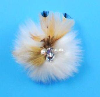 """E4161  Ivory Feather Fur Pearl Rhinestone Brooch 3.5"""""""