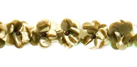 E1590 Flower Beaded Sequin Trim Olive Green