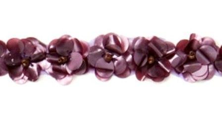 """E1590 Flower Beaded Sequin Trim Matte Mauve 1"""""""
