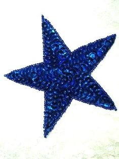 """JB76 Six inch Blue Star Applique Beaded Sequin Patch 6"""" Iron on"""