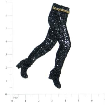 "E014 ""Boots Are Made for Walkin"" Sequin Beaded Applique"