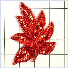 """FS476 Leaf Applique Sequin Red Beaded Motif 4"""""""
