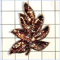 "FS476 Leaf Applique Sequin Bronze Beaded Motif 4"""