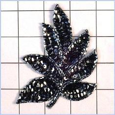 "FS476 Leaf Applique Sequin Gunmetal Beaded Motif 4"""
