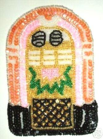 L Jukebox Fifties Sequin Beaded Applique 6""