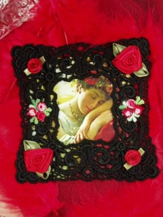 VG24  Black Red Venise Lace Picture Frame Cameo  Applique 4""