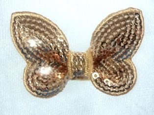 """DE2 Champagne Butterfly Sequin Hair Bow / Brooch /  Applique 2.25"""""""