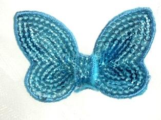 """DE2 Light Blue Butterfly Sequin Hair Bow / Brooch /  Applique 2.25"""""""
