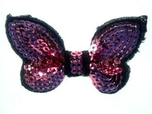 """DE2 Mauve Black Butterfly Sequin Hair Bow / Brooch /  Applique 2.25"""""""