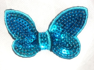 """DE2  Turquoise Black  Butterfly Sequin Hair Bow / Brooch /  Applique 2.25"""""""