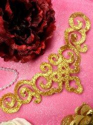 "DE3 Iron On Gold Metallic Scroll Collar Embroidered Applique 9.5"""